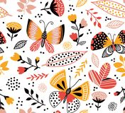 Vector seamless pattern with cute butterflies, flowers and plants. Bright summer background. royalty free illustration