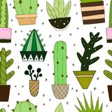 Vector seamless pattern with cute cactus stock illustration