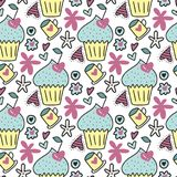 Vector seamless pattern with cute cakes, cherries in the form of hearts and flowers. Vector seamless pattern with cute cakes, cherries in the form of hearts Royalty Free Stock Photos