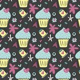 Vector seamless pattern with cute cakes, cherries in the form of hearts and flowers. Vector seamless pattern with cute cakes, cherries in the form of hearts Stock Image