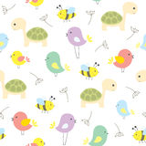Vector seamless pattern with cute cartoon animals Stock Images