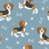 Vector seamless pattern with cute cartoon beagle baby Stock Photos