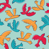Vector seamless pattern with cute cartoon birds flying. In the sky Stock Illustration