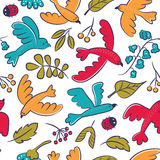 Vector seamless pattern with cute cartoon birds, plants,berries Stock Images