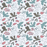 Vector seamless pattern with cute cartoon birds, plants,berries Stock Photo