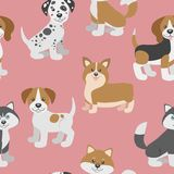 Vector seamless pattern with cute cartoon dog puppies. Stock Photo