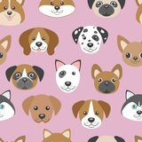 Vector seamless pattern with cute cartoon dog puppies. Stock Photos