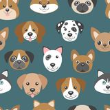 Vector seamless pattern with cute cartoon dog puppies. Stock Image
