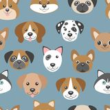 Vector seamless pattern with cute cartoon dog puppies. Royalty Free Stock Images