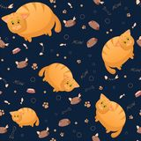 Vector seamless pattern with cute cartoon fat cats. Funny animals. Thick amusing beasts. Texture on dark blue background. Template royalty free illustration