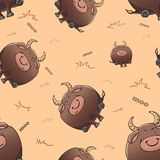 Vector seamless pattern with cute cartoon fat severe bulls. Funny animals. Thick amusing beasts. Texture on beige background. stock illustration