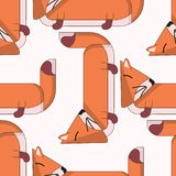 Vector seamless pattern with cute cartoon foxes. stock illustration