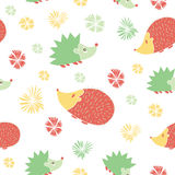 Vector Seamless Pattern with Cute  Cartoon Hedgehogs. Royalty Free Stock Photo