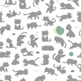 Vector seamless pattern of cute cartoon style cat in different poses royalty free illustration