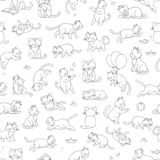 Vector seamless pattern of cute cartoon style cat in different poses stock illustration