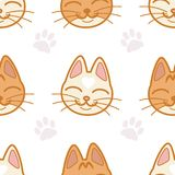 Vector seamless pattern with cute cat`s muzzles and footprints on white background. Cute cat muzzles in japanese kawaii style. Vector seamless backdrop in pastel Royalty Free Stock Photos
