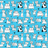 Vector seamless pattern with cute cats. Animal character cat muzzle and backdrop with feline cat and footprint illustration Royalty Free Stock Images