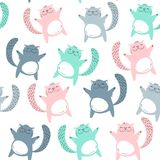Vector seamless pattern with cute cats. Scandinavian motives. Baby print. Vector seamless pattern with cute cats. Scandinavian motives royalty free illustration