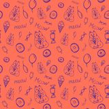 Vector seamless pattern with cute cats and sweets. Bright colors,purple on coral background, ice cream, donuts, candy, great for print on textiles.Hand drawn royalty free illustration
