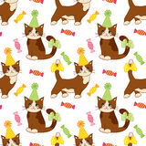 Vector Seamless Pattern with Cute Cats and Sweets. Seamless Pattern for Birthday and Party. Vector seamless pattern with cute cartoon cats and sweets on white Stock Images