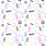 Vector seamless pattern with cute cats and sweets royalty free illustration