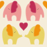 Vector seamless pattern with cute colorful elephants Royalty Free Stock Photo