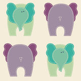 Vector seamless pattern with cute colorful elephants Stock Images