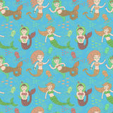 Vector seamless pattern with cute colorful mermaids. Royalty Free Stock Image