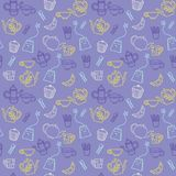 Cute food items with tea utensils Seamless pattern royalty free illustration