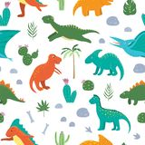 Vector seamless pattern with cute dinosaurs with palm trees, cactus, stones, footprints, bones for children. Dino flat cartoon vector illustration
