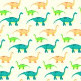 Vector seamless pattern with cute diplodocus dinosaurs Royalty Free Stock Images