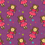 Vector seamless pattern with cute doll in pink dress Royalty Free Stock Photo
