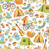 Vector seamless pattern with cute doodle family. Equipment for c Stock Image