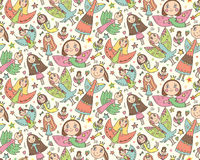 Vector seamless pattern with cute fairies in children's drawing Royalty Free Stock Photography