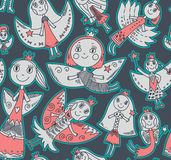 Vector seamless pattern with cute fairies in children's drawing Stock Images
