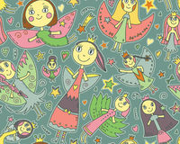Vector seamless pattern with cute fairies in children's drawing Royalty Free Stock Image