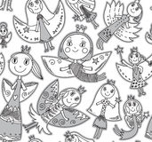 Vector seamless pattern with cute fairies in children's drawing Stock Photography