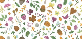 Vector seamless pattern of cute flat woodland insects and plants.
