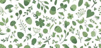 Vector seamless pattern of cute flat woodland insects and plants. Forest elements repeating background