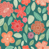 Vector seamless pattern. Of cute flowers Stock Images