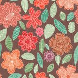 Vector seamless pattern. Of cute flowers Stock Photos