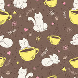 Vector seamless pattern with cute fluffy cat, cup, heart, flower and branch Stock Images