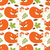 Vector Seamless Pattern with Cute Foxes, Mushrooms, Berries  and Leaves. Forest Fox Seamless Pattern. Vector seamless pattern with cute foxes, mushrooms Royalty Free Stock Image