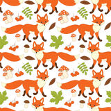 Vector Seamless Pattern with Cute Foxes, Mushrooms, Berries  and Leaves. Forest Fox Seamless Pattern. Vector seamless pattern with cute foxes, mushrooms Royalty Free Stock Images