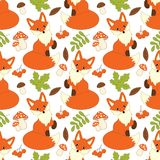 Vector Seamless Pattern with Cute Foxes, Mushrooms, Berries and Leaves. Vector seamless pattern with cute foxes, mushrooms, berries  and leaves. Fox seamless Royalty Free Stock Photo