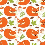 Vector Seamless Pattern with Cute Foxes, Mushrooms, Berries and Leaves. Vector seamless pattern with cute foxes, mushrooms, berries  and leaves. Fox seamless Royalty Free Stock Images