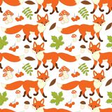 Vector Seamless Pattern with Cute Foxes, Mushrooms, Berries and Leaves. Vector seamless pattern with cute foxes, mushrooms, berries  and leaves. Fox seamless Stock Photos