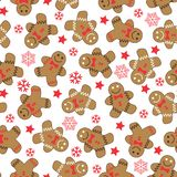 Vector seamless pattern of cute gingerbread man with snow crystals and stars on white background. vector illustration
