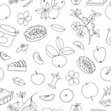 Vector seamless pattern of cute hand-drawn apples, apple pie, flowers, jam jar. Black and white repeat background. Home made food vector illustration
