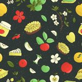 Vector seamless pattern of cute hand-drawn apples, apple pie, flowers, jam jar. Colorful repeat background. Home made food theme. stock illustration